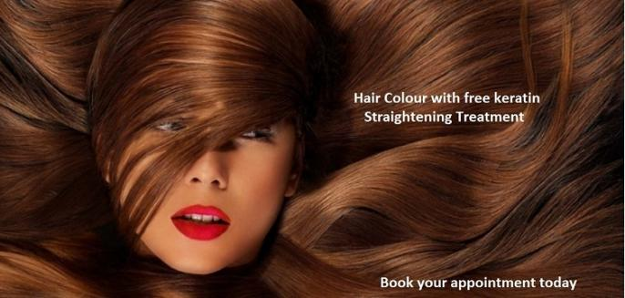 Hair cut and colour plusFree Keratin Straightening Treatment Special
